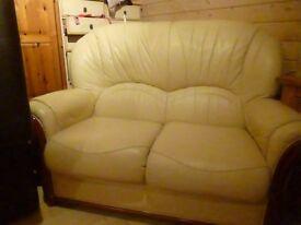 small cream leather sofa
