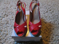 LADIES RED SLING BACK HEELS - FROM DOROTHY PERKINS - SIZE 6 - WORN TWICE