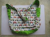 NAPPY DIAPER BABY CHANGING BAG WITH WIPES POUCH IN TRACTOR DESIGN FABRIC