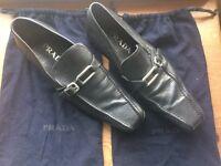 Prada Black mens shoes - silver buckle - Size 7