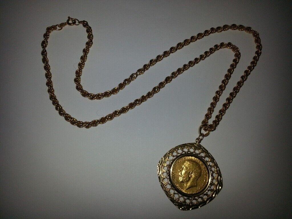 69df04e9227c9 Gold Coin Pendant 22ct Full Sovereign Chain (7#)   in Bridgend   Gumtree