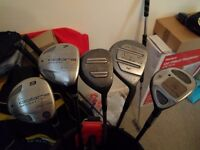 Various golf clubs, they must all go, including bags
