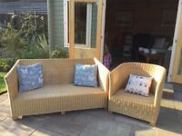 Cane two seater settee and armchair. Measurement