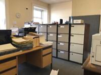 All items in office (incl. 2 desks, photocopier, HPprinter)