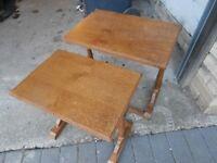 TWO TEAK SIDE TABLES 50CM X 34.5CM X 46CM HEIGHT PLUS 41.5CM X 29CM X 44CM HEIGHT