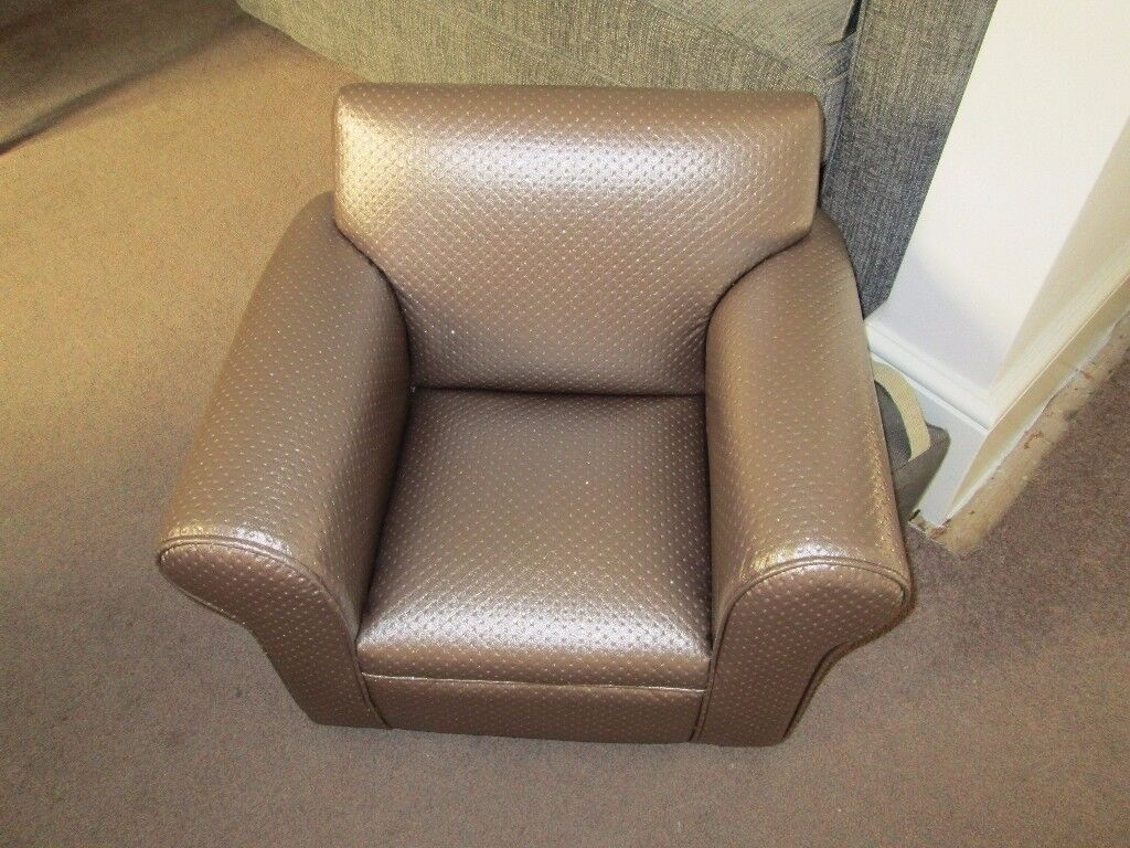 CHILDS ARMCHAIR - RECENTLY RECOVERED IN FAWN BLINGY FAUX LEATHER