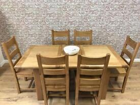 1.4m 6 seat extending Round Edged oak dining table