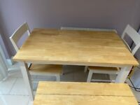 Dining table with 2 chairs & bench