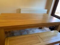 Real oak wood table and benches