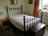 Lovely Brass/Black double wrought iron bed and mattress