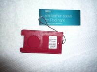 NEW MARKS AND SPENCER REAL LEATHER SLEEVE FOR IPOD NANO - RED