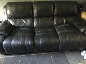 Three seater electric reclining sofa and a two seater in black