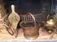 Antique brass fireside set