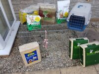 Rabbit run, carrier, lead, food, hay and wood shavings