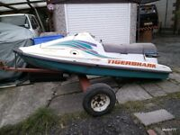 Tiger Shark Jet Ski Shell Only Not Working Free Spares Repairs Trailer not included