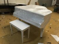 REAL WHITE GLOSS BABY GRAND PIANO DIGITAL CONVERSION