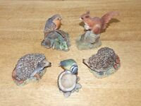Vintage BORDER FINE ARTS animals/birds x 5: Hedgehog x 2, Squirrel, Robin, Blue-tit