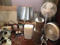 Hydroponic setup 6 hoods 7 bulbs 5 ballasts 2 filters 2 ph meters demidifier timers and more