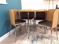 Hygena Wood and Metal Tulip Table and Chairs