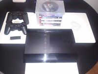 320g Slimline PS3, 8 GAMES ,2 CONTROLLERS, ALL CABLES