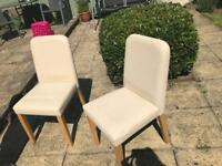 Next cream leather & wood dining chairs x 4 refurb