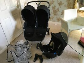 Britax B Agile Double Buggy, Raincover, Car Seat with Connectors
