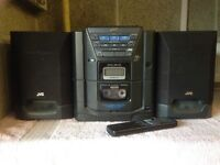 JVC DX-E10 MINI MUSIC SYSTEM AND SPEAKERS