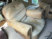 Two very comfortable Arm Chairs, in need of restoration. Leather and Velvet