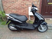 2013 Piaggio FLY 50 scooter, new shape, long MOT, very low mileage, 1 owner, standard 50cc, not 125,