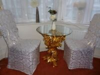 Glass table with lovely gold colour metal stand was £350
