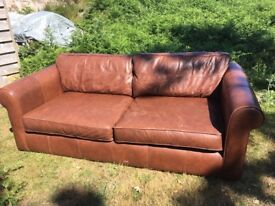 Beautiful 3 seater sofa Thomas Lloyd RRP £1700 leather tan VGC £500 or best offer