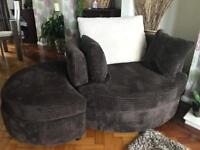 Brown and cream fabric sofa and cuddle chairs