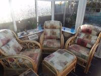 3 Bamboo Conservatory Chairs, Pouffe with cushions and small table non smoking household