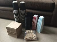 Bundle of Disposable Coffee Cups, Popcorn Boxes, Napkins, Cutlery, Wedding/Party