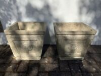 Pair of large vintage cast stone patio planters with Tudor rose embossed design