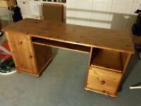 Computer desk, pine, with drawer, keyboard drawer and cupboard attached, good condition