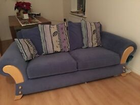 Sofa and 2 chairs in blue dralon.