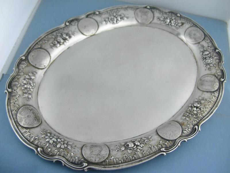 "800 Silver 11 5/8"" Oval Tray set w/ 8 Schilling Coins ornate florals Schwartzkop"