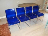 Set Of 4 Heavy Quality Funky Blue Perspex Steel Dining Chairs VG Condition Collect North Edinburgh!!