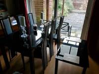 Extendable glass dining table & chairs set and a glass coffee table