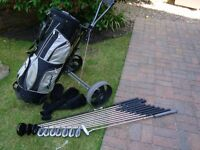 Full set of Keno Xtreme golf clubs inc stand bag and trolley in great condition