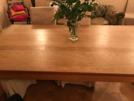 Natural Oiled Solid Oak Kitchen Table 180X100 with a pair of leaves 100X50
