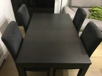 BJURSTA brown/black extendable table + 4 HENRIKSDAL chairs