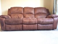 Suede 3 seater & 2 seater reclining sofas