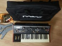 moog Little Phatty Stage II, Analog Synthesizer with Soft Case & Custom Wooden Side Panels