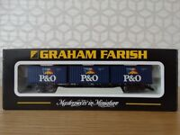 Graham Farish N Gauge - 373-455 - 63ft Bogie Wagon with 3 20ft Containers P&O