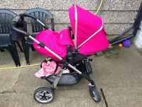 Selling silver cross pioneer travel system, includes pram, pushchair and car seat carrier raspberry