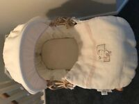 Mamas & Papas cream teddy bear design Moses basket with stand
