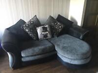 Grey/Black chaise sofa and swivel chair