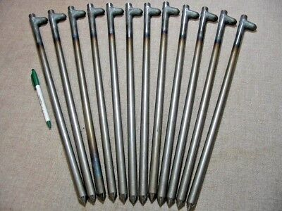 "12 pack of 18"" long steel stakes,spikes or pegs. Heavy Duty USA!   62518HNP12"
